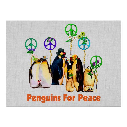 Peace Penguins Poster