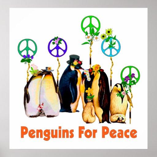 Peace Penguins Poster