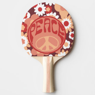 Peace Ping Pong Paddle, Red Rubber Back