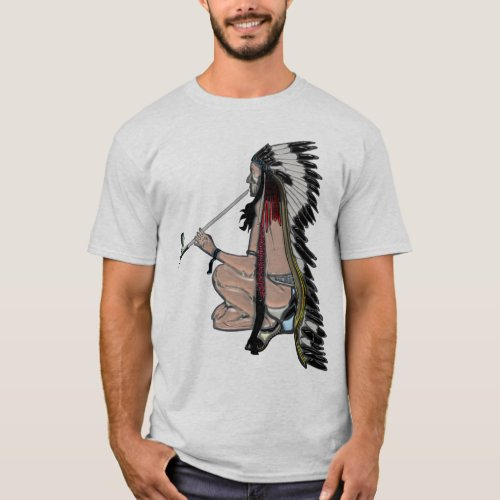 Peace Pipe Native American POPART Apparel T_Shirt