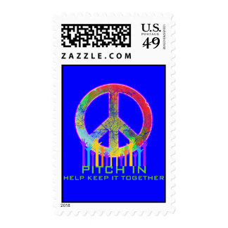 Peace-Pitch In Help Keep It Together Postage