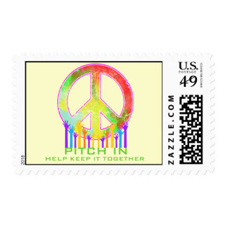 Peace-Pitch In Help Keep It Together Postage Stamps