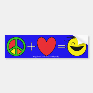 Peace Plus Love Equals Happiness (blue) Bumper Sticker