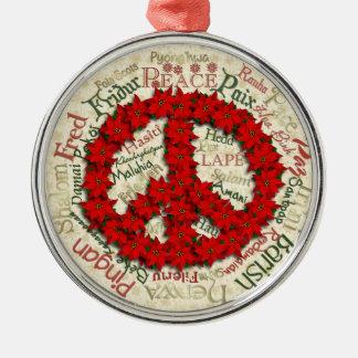 Peace Pointsettia Round Premium Christmas Ornament