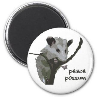 Peace Possum 2 Inch Round Magnet