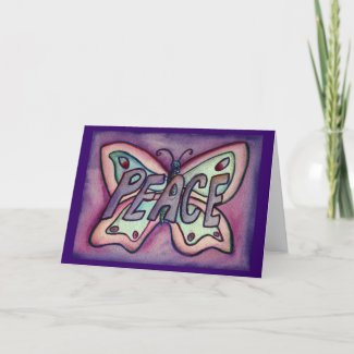 Peace Purple Butterfly Art Greeting or Note Cards