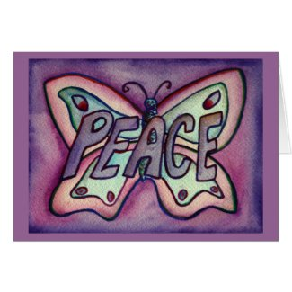 Peace Purple Butterfly Art Note or Greeting Card