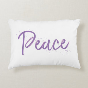 Peace--Purple-Text Accent Pillow