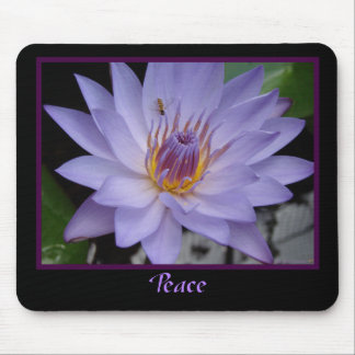 Peace Purple Water Lily With Bee Zen Mouse Mat Mouse Pad