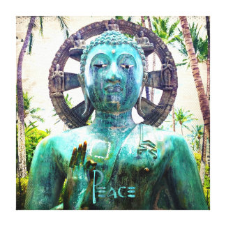 """Peace"" Quote Asian Turquoise Buddha Statue Photo Canvas Print"
