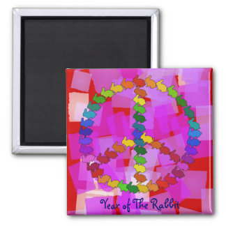 Peace Rabbits 2 Inch Square Magnet