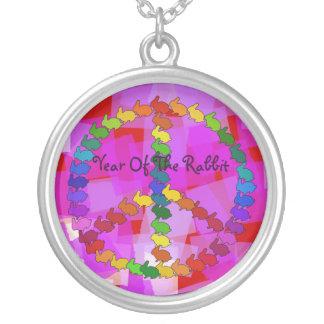 Peace Rabbits Round Pendant Necklace