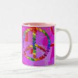 Peace Rabbits Two-Tone Coffee Mug