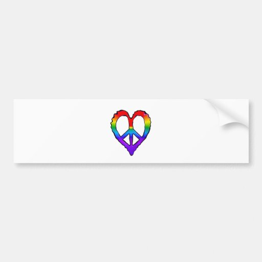 Peace Rainbow Heart Bumper Stickers