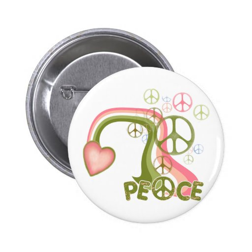 Peace Rainbow Retro Buttons