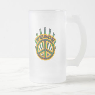 PEACE RAYS FROSTED GLASS BEER MUG