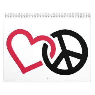 Peace red heart calendar