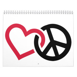 Peace red heart calendar