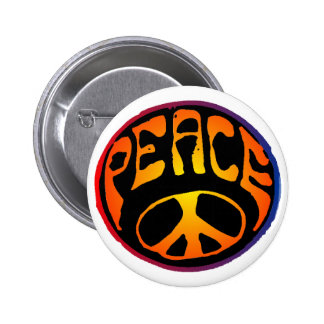 Peace - Red Orange Button
