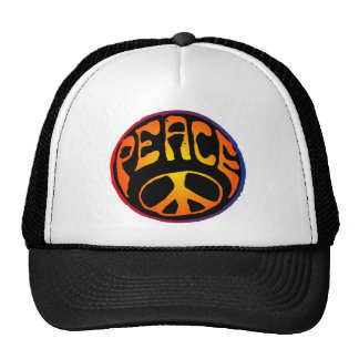 Peace - Red Orange Trucker Hat