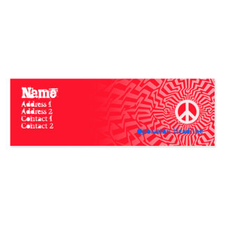 Peace Red - Skinny Double-Sided Mini Business Cards (Pack Of 20)