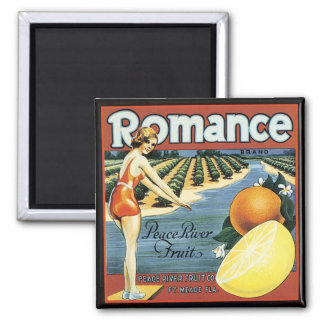 Peace River Fruit Company Crate Label 2 Inch Square Magnet