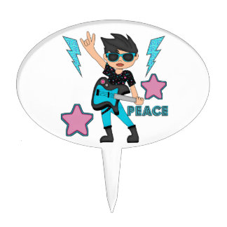 Peace Rock Star Cake Topper