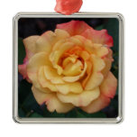 Peace Rose Beautiful Pink and Yellow Floral Metal Ornament