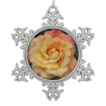 Peace Rose Beautiful Pink and Yellow Floral Snowflake Pewter Christmas Ornament