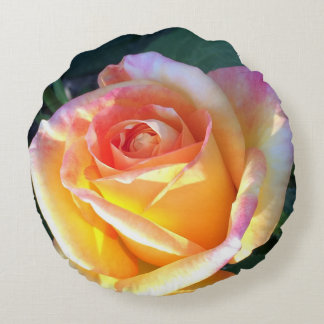 Peace Rose Throw Pillow Pink Coral Yellow Round Pillow
