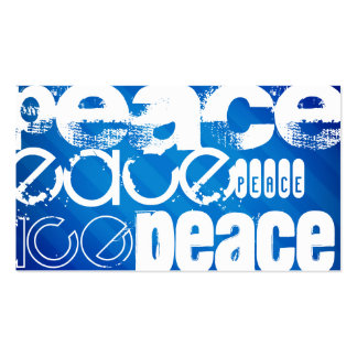 Peace; Royal Blue Stripes Double-Sided Standard Business Cards (Pack Of 100)