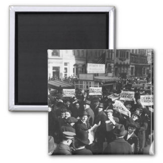 Peace rumor, New York.  Crowd at Times_War Image 2 Inch Square Magnet