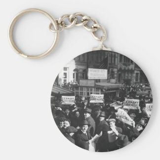 Peace rumor, New York.  Crowd at Times_War Image Basic Round Button Keychain