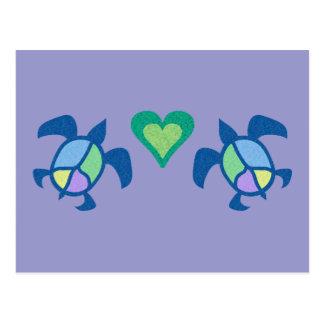 Peace Sea Turtles Heart Postcard