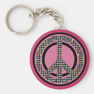 PEACE SEQUINED PINK BASIC ROUND BUTTON KEYCHAIN