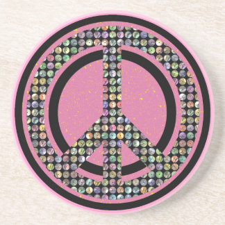 PEACE SEQUINED PINK Coaster