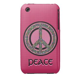 PEACE SEQUINED PINK iPhone 3 Case-Mate Case