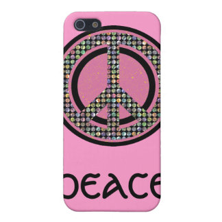 PEACE SEQUINED PINK CASES FOR iPhone 5