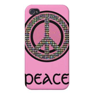 PEACE SEQUINED PINK COVER FOR iPhone 4
