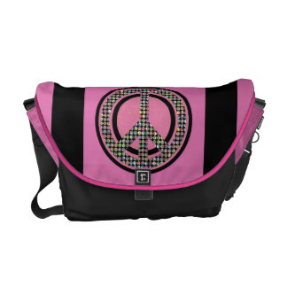 PEACE SEQUINED PINK Messenger Bag