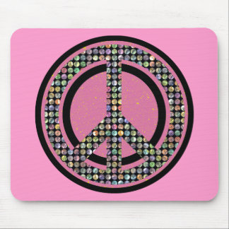 PEACE SEQUINED PINK MOUSE PAD