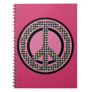 PEACE SEQUINED PINK Spiral Notebook