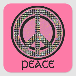 PEACE SEQUINED PINK STICKER