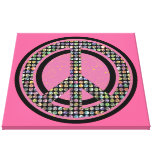 PEACE SEQUINED PINK Wrapped Canvas Print