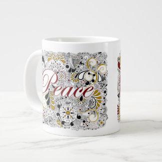 Peace & Shalom (in Hebrew) - Jumbo Coffee Mug 20 Oz Large Ceramic Coffee Mug