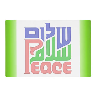 Peace Shalom Salaam laminated placemat
