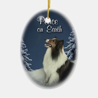 Peace Sheltie Double-Sided Oval Ceramic Christmas Ornament