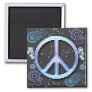 Peace Sign 2 Inch Square Magnet