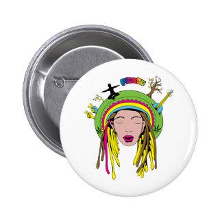 Peace Sign ~ 60s Hippie Girl Tie Dye 2 Inch Round Button