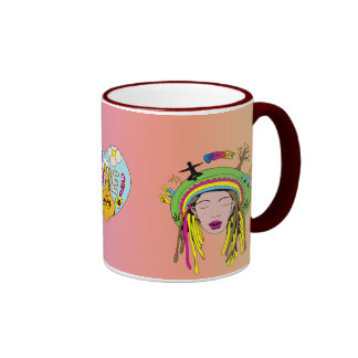 Peace Sign ~ 60s Hippie Girl Tie Dye Coffee Mugs